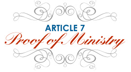 Article 7: Proof of Ministry